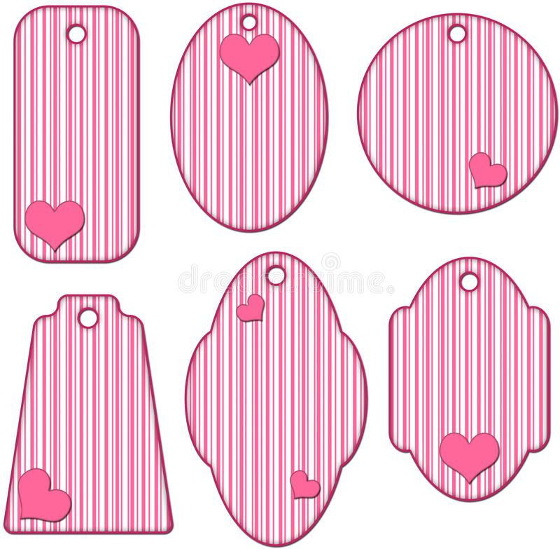 Романтичное собрание пинка и белых striped бирки с сердцами иллюстрация штока