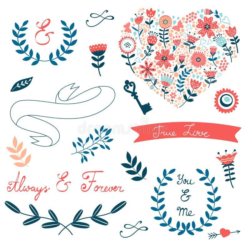 Романтичное собрание с цветками, венками иллюстрация штока