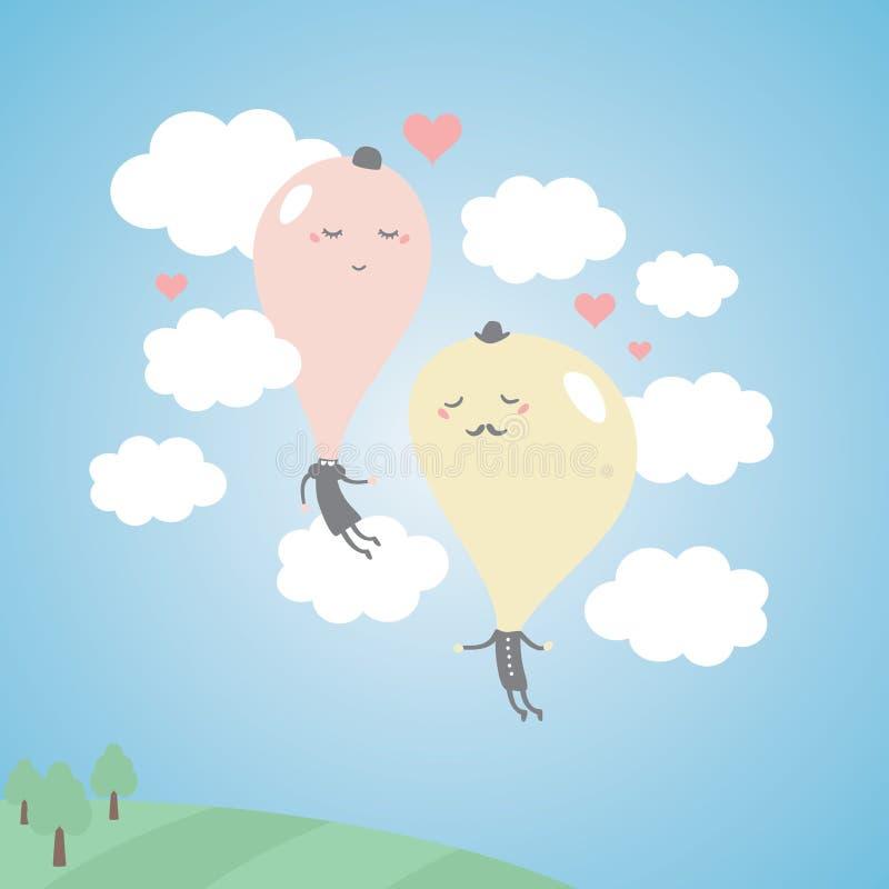 Романтичные воздушные шары в небе с облаками. иллюстрация штока