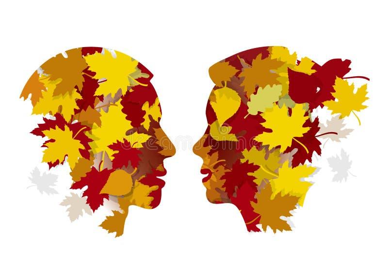 Романтичные пары в влюбленности, осени иллюстрация вектора