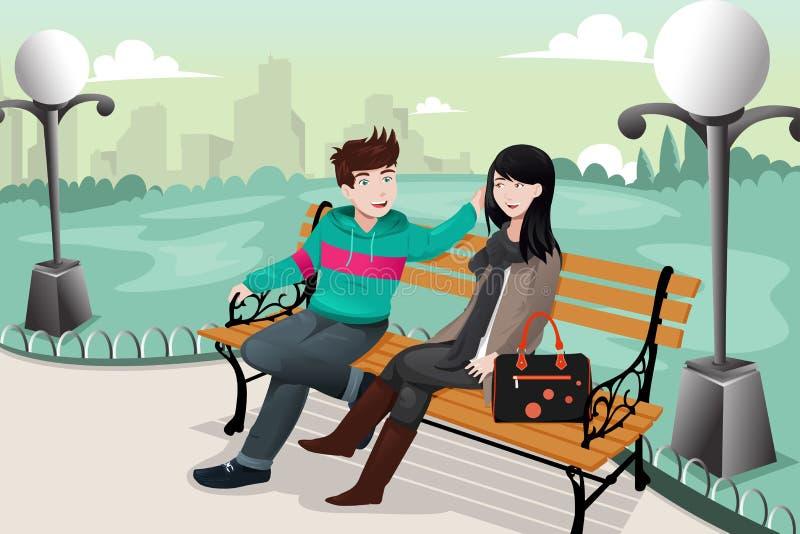 Романтичные пары в парке иллюстрация вектора