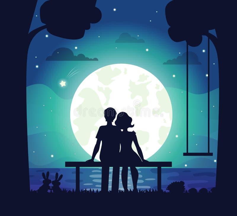 Романтичные пары сидя на взморье под лунным светом иллюстрация вектора