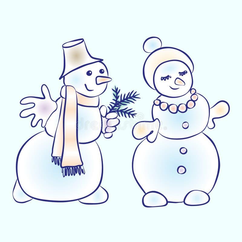 Романтичные пары снеговиков Снеговик ухаживая его девушку иллюстрация вектора