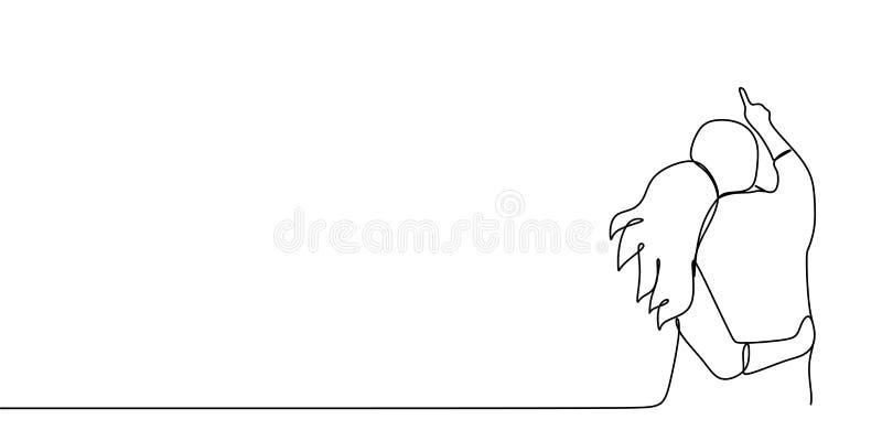 Романтичные пары с непрерывной линией иллюстрацией вектора чертежа искусства Концепция человека и девушка видят красивый пейзаж М иллюстрация штока