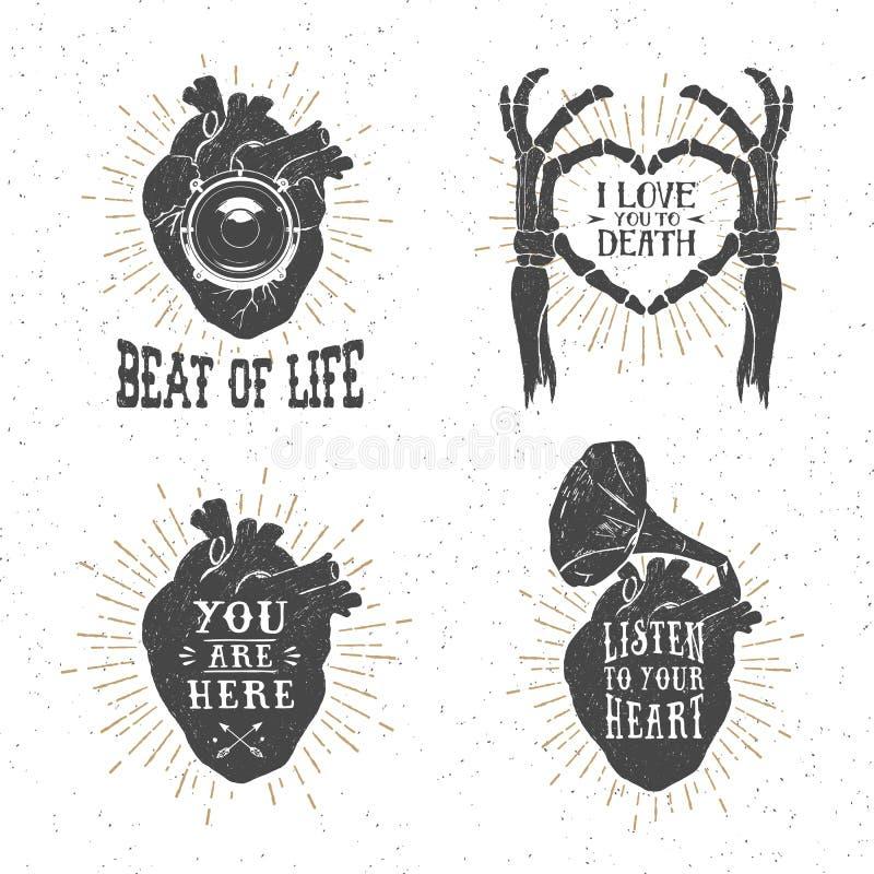 Романтичные плакаты с человеческим сердцем, каркасные руки, патефон ho иллюстрация вектора