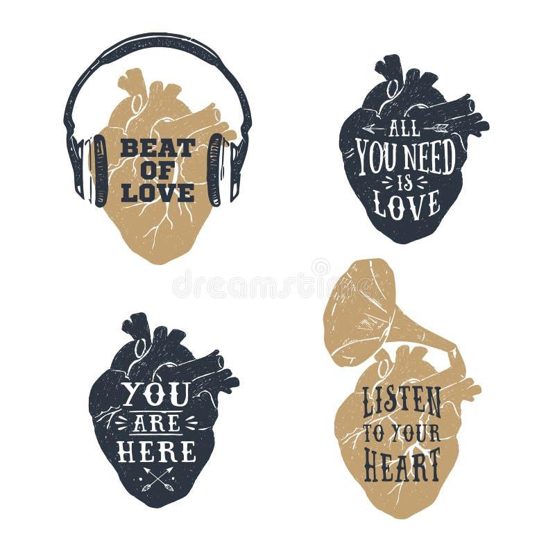 Романтичные плакаты с человеческим сердцем, наушники, иллюстрация вектора рожка патефона иллюстрация вектора