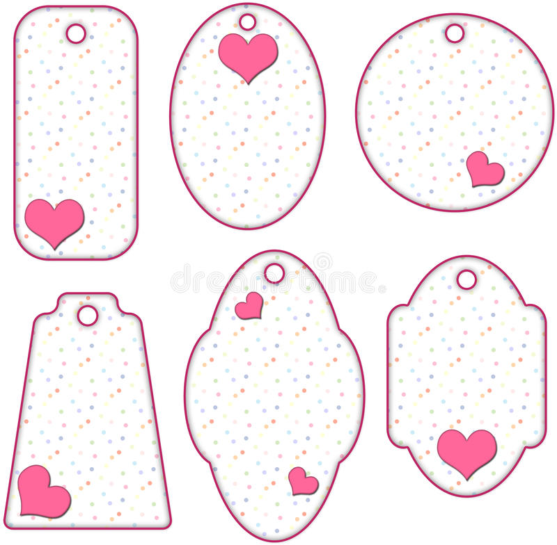 Романтичные розовые и белые бирки с сердцами иллюстрация штока