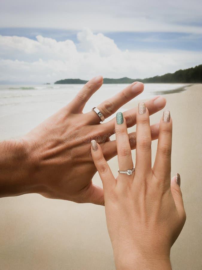 Романтичные руки владением новобрачных пар к медовому месяцу стоковые изображения rf