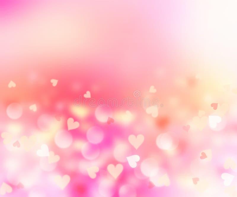 Романтичные сердца запачканные на розовой предпосылке Валентайн формы влюбленности сердца карточки иллюстрация штока