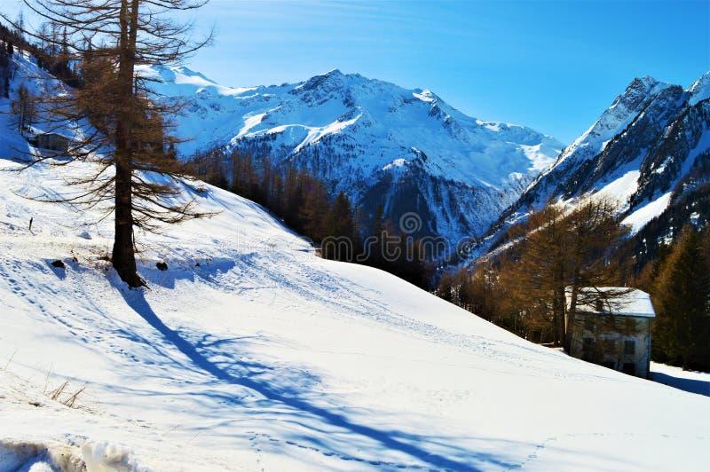 Романтичный ландшафт зимы в швейцарце Альпах стоковые фото