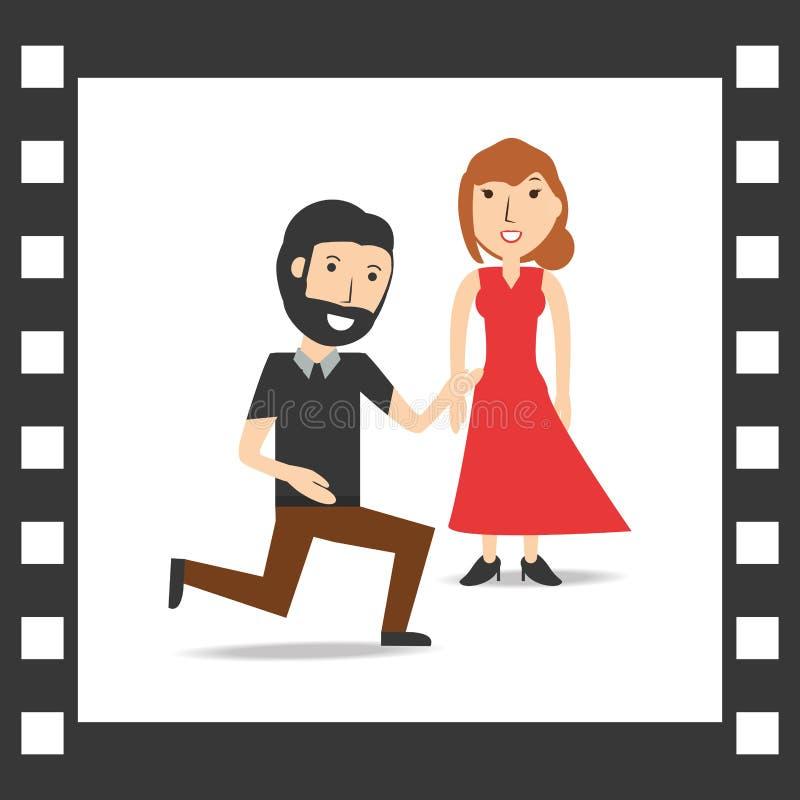Романтичный любовник пар с украшением рамок иллюстрация штока