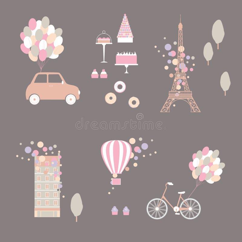 Романтичный набор Парижа также вектор иллюстрации притяжки corel иллюстрация вектора