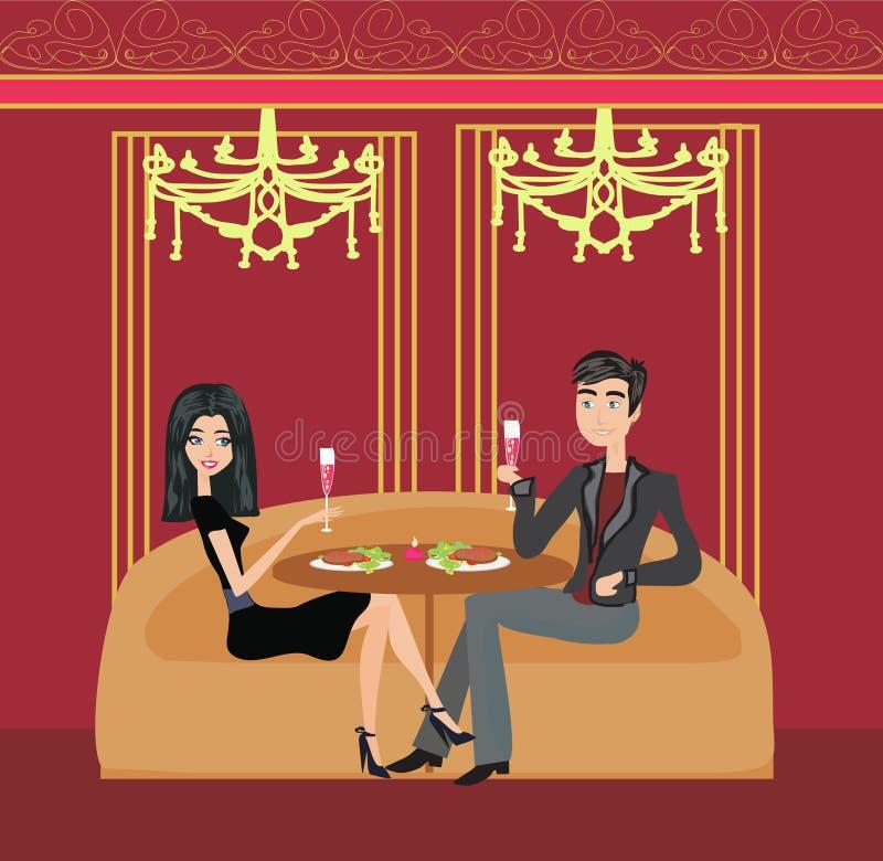 Романтичный обедающий в ресторане иллюстрация штока