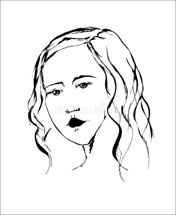 Романтичный портрет молодой красивой девушки с длинными волнистыми волосами иллюстрация вектора