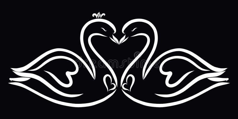 Романтичный поцелуй 2 лебедей феи на черной предпосылке иллюстрация штока