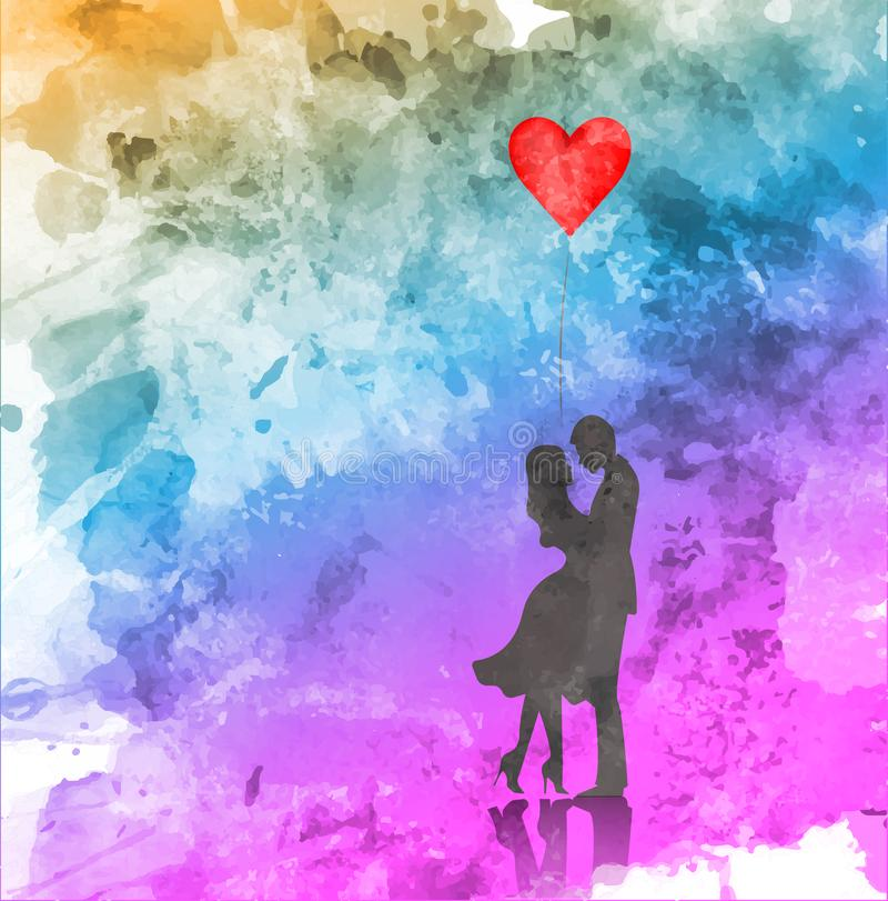 Романтичный силуэт любящих пар День валентинок 14-ое февраля счастливые любовники Иллюстрация вектора, стиль акварели иллюстрация штока
