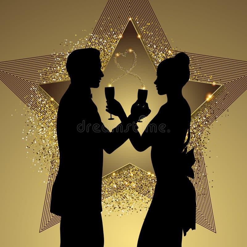 Романтичный силуэт пар деля стекло шампанского иллюстрация штока