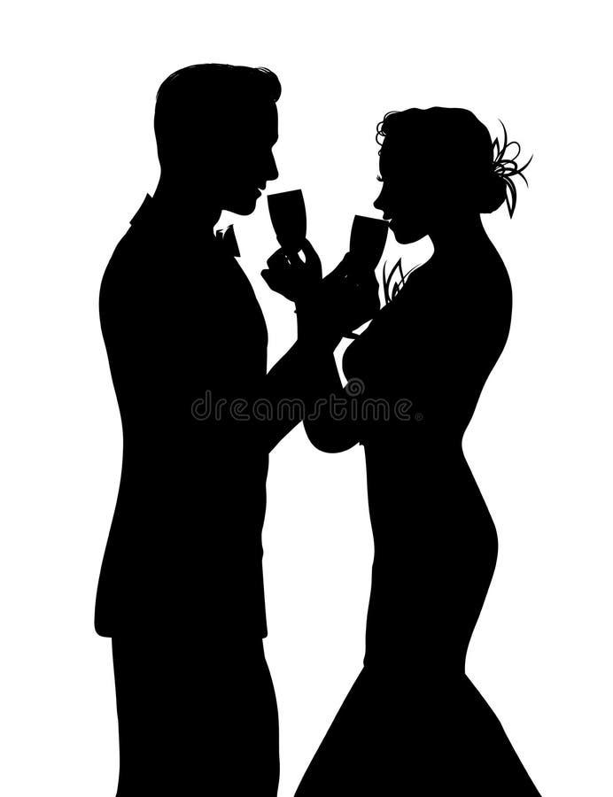 Романтичный силуэт пар деля стекло шампанского бесплатная иллюстрация