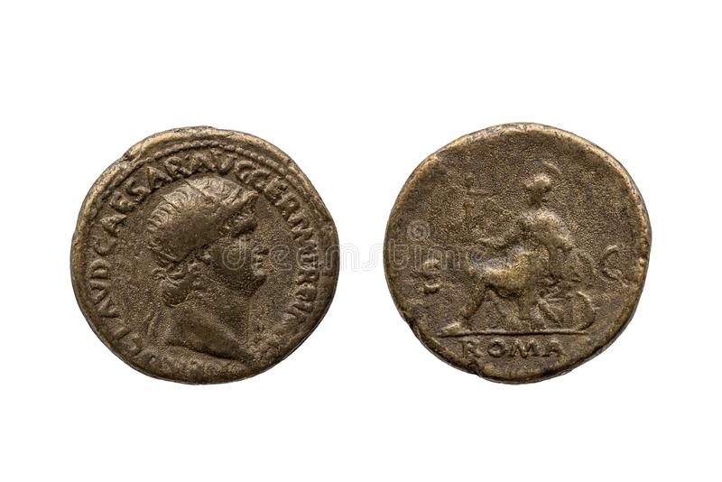 Роман Дупондий (монета римского императора Неро) стоковое изображение rf