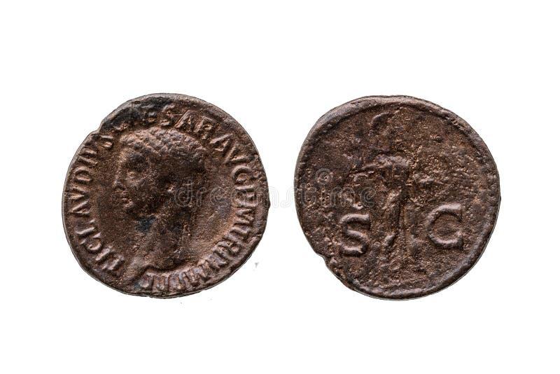 Роман как монета римского императора Клавдия стоковые фотографии rf