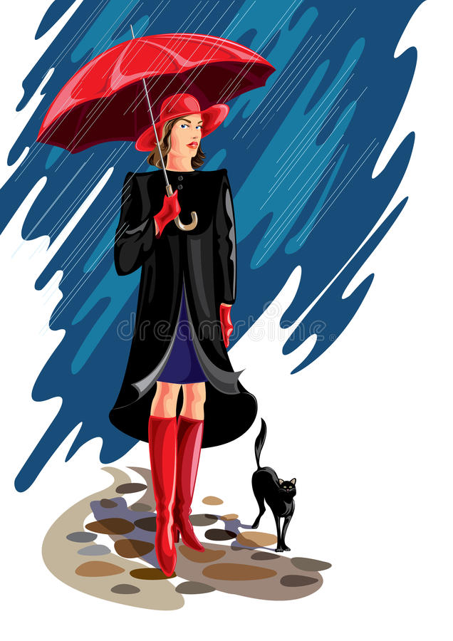 Роскошная дама с котом - иллюстрацией стоковое фото rf