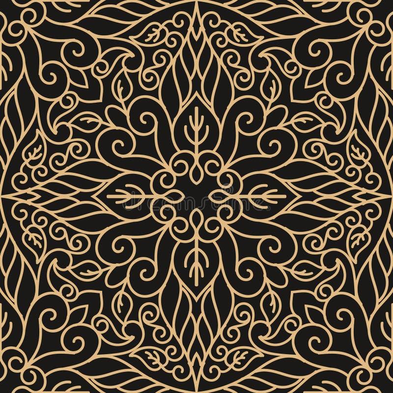 Роскошная безшовная картина с мандалой золота на черной предпосылке иллюстрация вектора