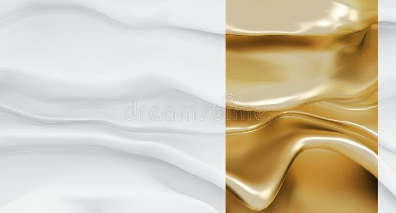 Роскошная белая абстрактная предпосылка формы с акцентом золота Пропуская белая ткань или пропуская толстая жидкость с этапом зол иллюстрация штока