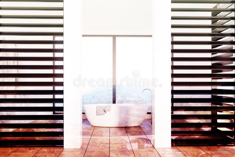 Роскошная белая и черная ванная комната, белый тонизированный ушат бесплатная иллюстрация