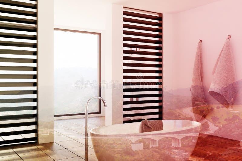 Роскошная белая и черная ванная комната, ушат, встает на сторону тонизированный иллюстрация штока