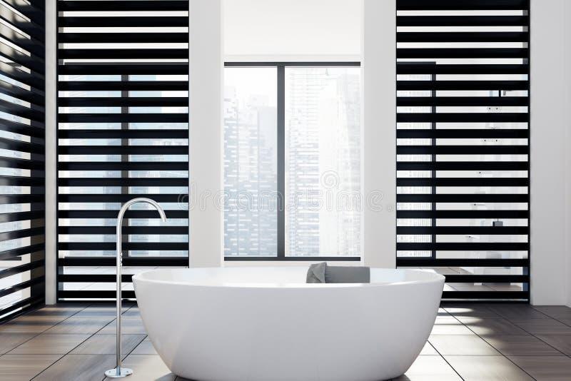 Роскошная белая и черная ванная комната, ушат иллюстрация вектора