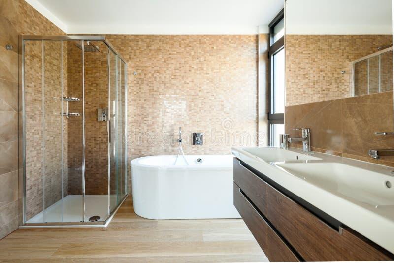 Роскошная ванная комната в современном доме стоковое изображение rf
