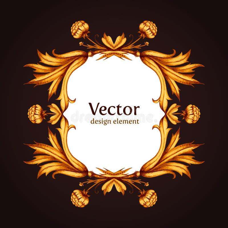 Роскошная винтажная викторианская рамка Королевское золото и иллюстрация штока