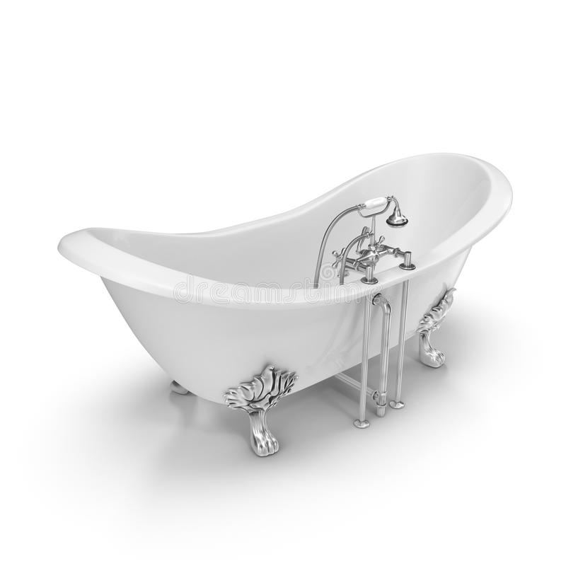 Роскошная винтажная двойная ванна Clawfoot тапочки на белизне стоковое изображение rf