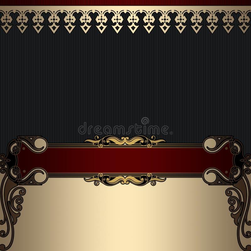 Роскошная винтажная предпосылка с декоративными границами иллюстрация вектора