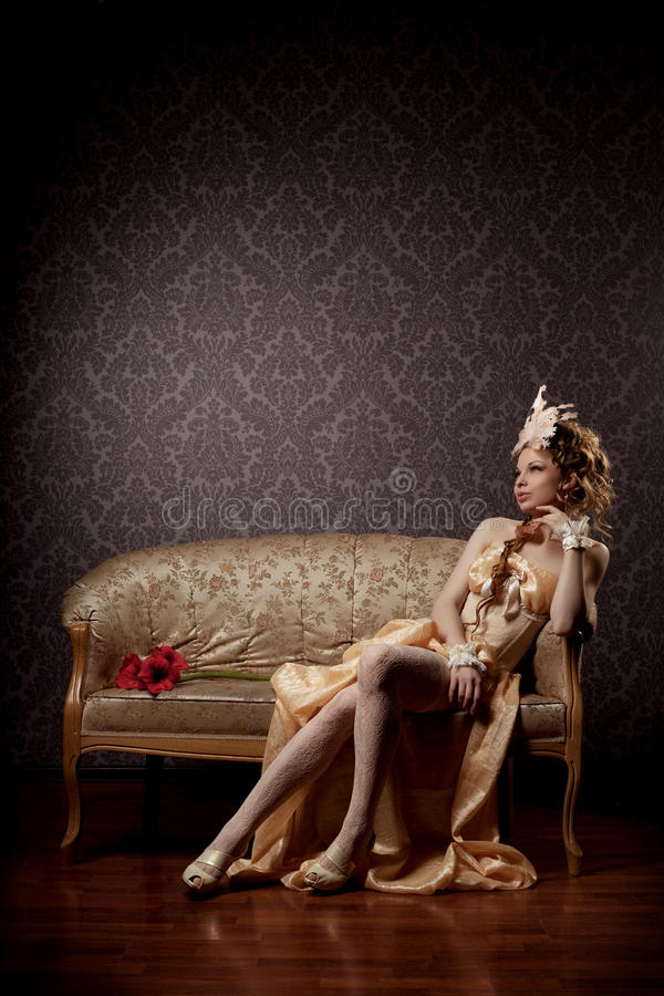 роскошная женщина сбора винограда типа стоковое фото