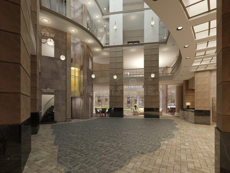 Роскошная зала лобби мульти-этажа пятизвездочной гостиницы, с каменными стенами и полом Столбцы и потолочное освещение иллюстрация вектора
