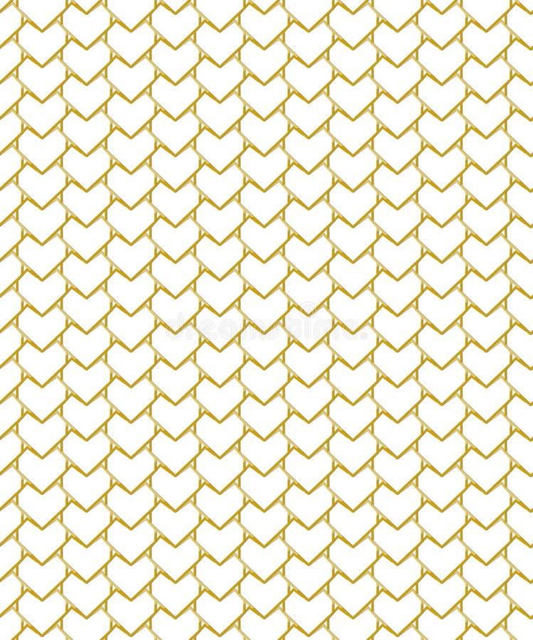 Роскошная золотая решетка с формами сердца и белой предпосылкой иллюстрация штока