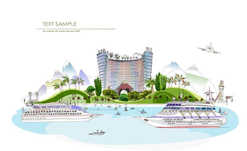 Роскошная линия города собрание иллюстрации гостиницы пляжного клуба иллюстрация вектора