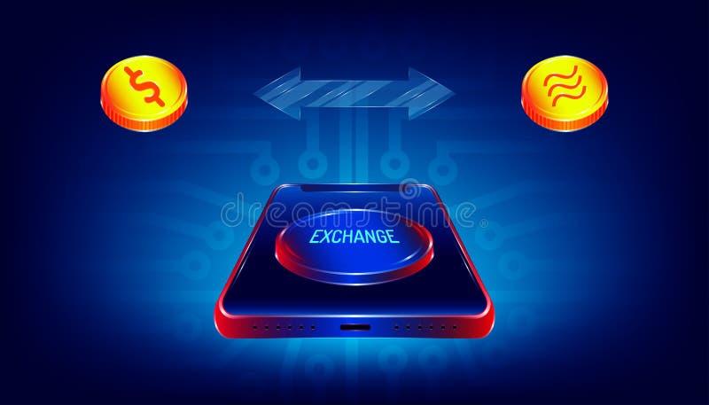 Роскошная кнопка обменом на смартфоне для передачи между долларом и валютой денег монетки libra печать радиотехнической схемы иллюстрация вектора
