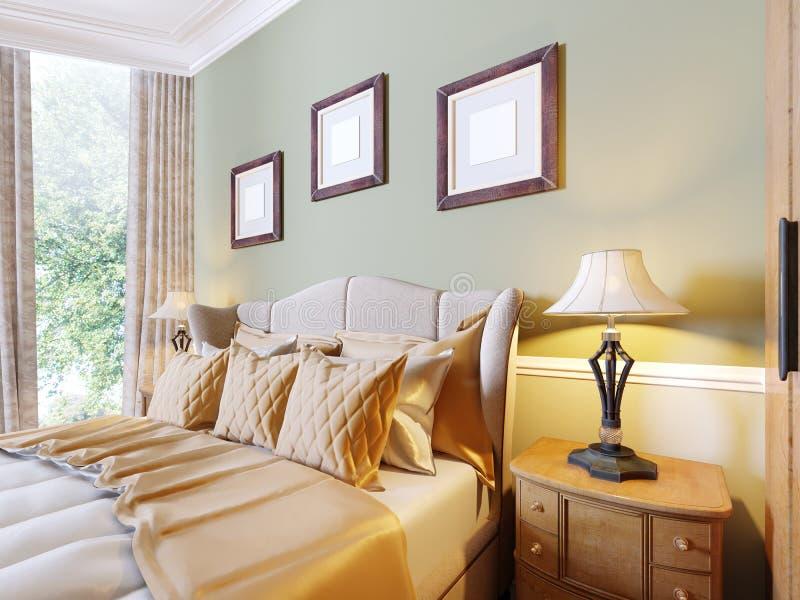 Роскошная кровать в интерьере современной спальни в классическом стиле Nightstands с настольными лампами и картинами над иллюстрация вектора