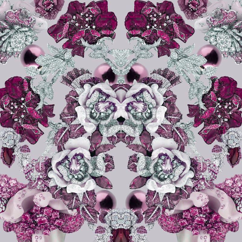 Роскошная печать с геометрией, камнями, диамантами, кристаллами, цветками, сапфиром и украшениями стоковые изображения
