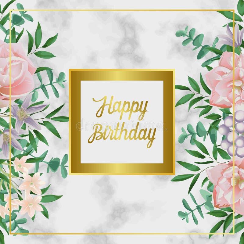 Роскошная поздравительая открытка ко дню рождения с днем рождений с розовыми цветками на черном мраморе иллюстрация вектора