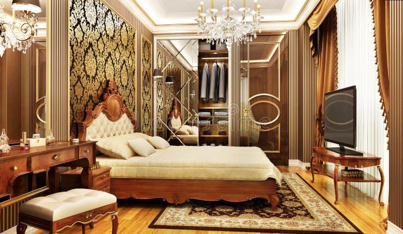 Роскошная спальня со сползать шкаф иллюстрация вектора