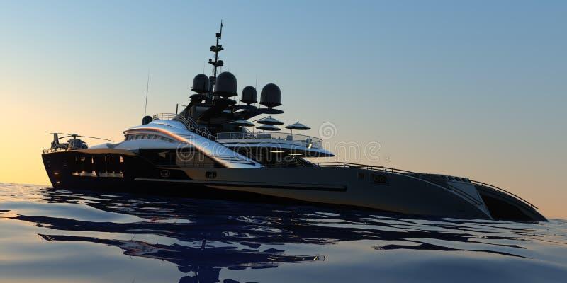 Роскошная супер яхта весьма детализировала и реалистическая высокая иллюстрация разрешения 3D иллюстрация вектора