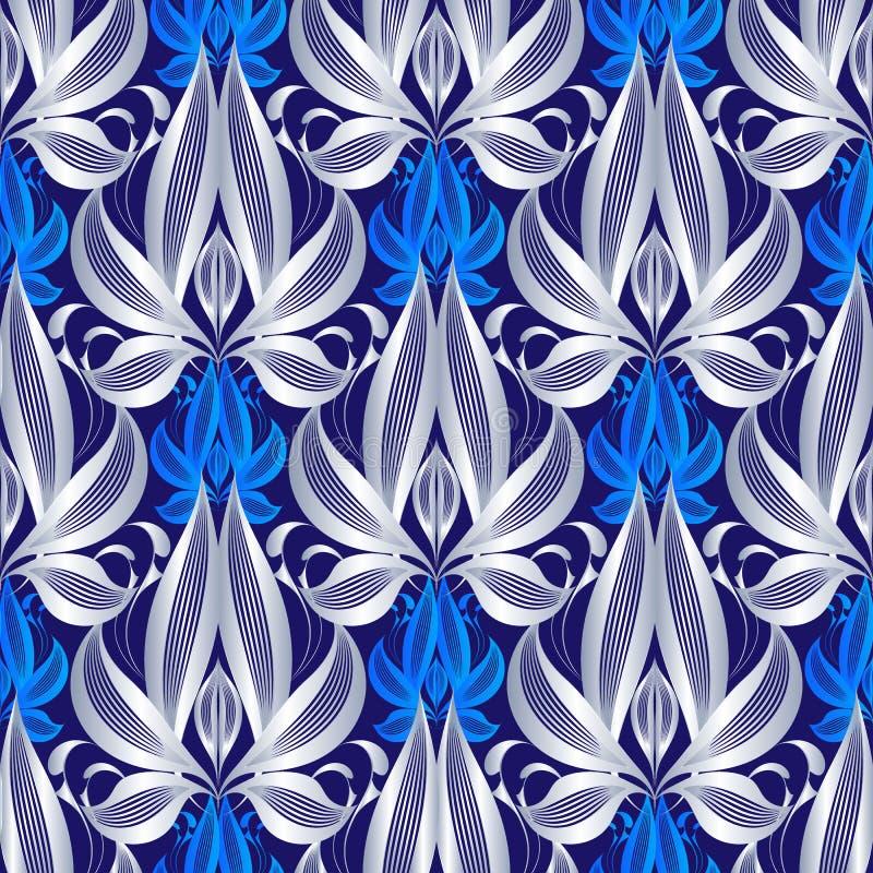 Роскошная флористическая линия картина вектора 3d искусства безшовная Абстрактные цветки серебра элегантности, листья Винтажной о бесплатная иллюстрация