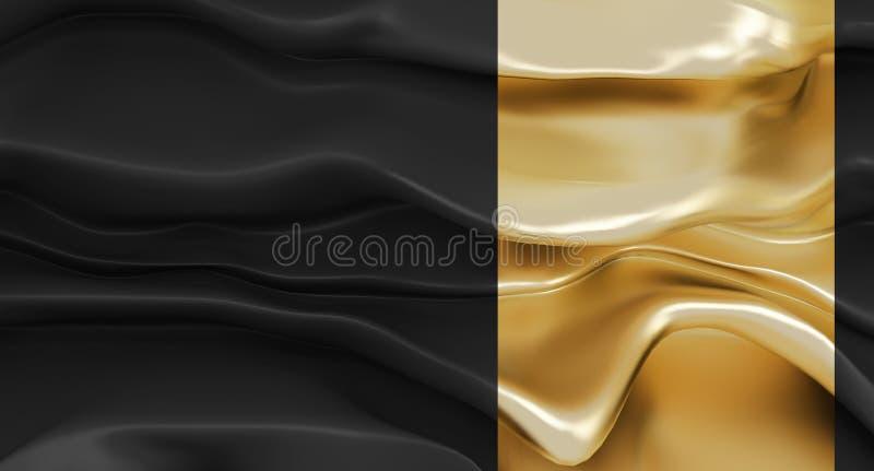 Роскошная черная предпосылка с абстрактными формами с акцентом золота Пропуская черная ткань или пропуская толстая жидкость с эта иллюстрация вектора