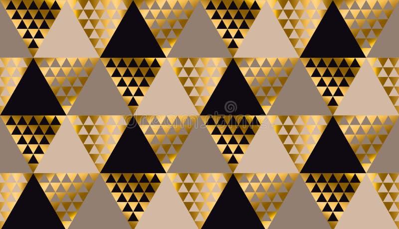 Роскошная чернота геометрии, золото и бежевый безшовный вектор иллюстрация штока