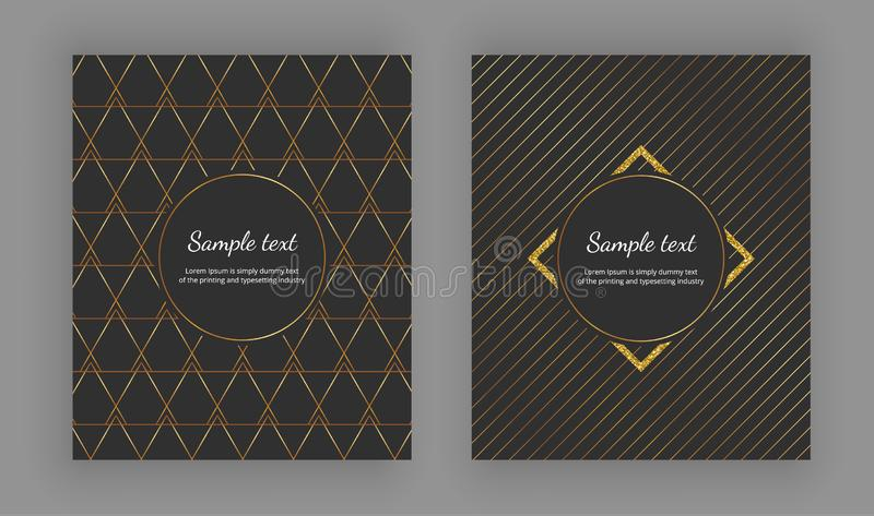Роскошная элегантная крышка с геометрическими дизайнами и ультрамодным золотом выравнивается на черной предпосылке также вектор и иллюстрация штока