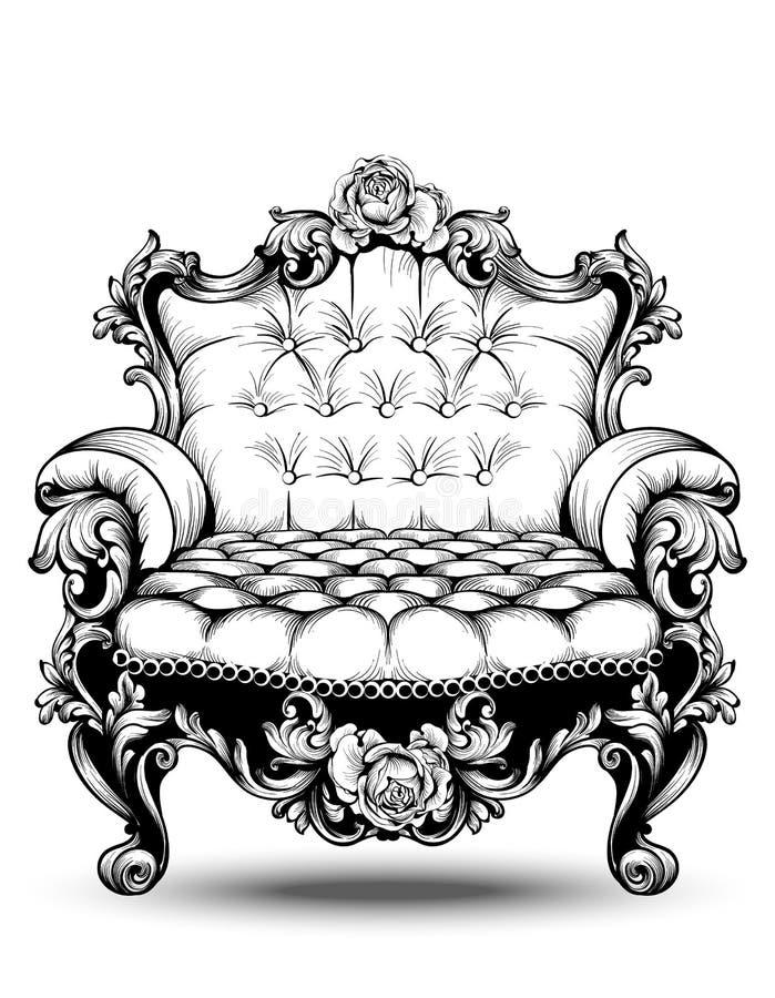 Роскошное барочное кресло с орнаментами элегантной розы флористическими Украшение вектора французское роскошное богатое затейливо бесплатная иллюстрация