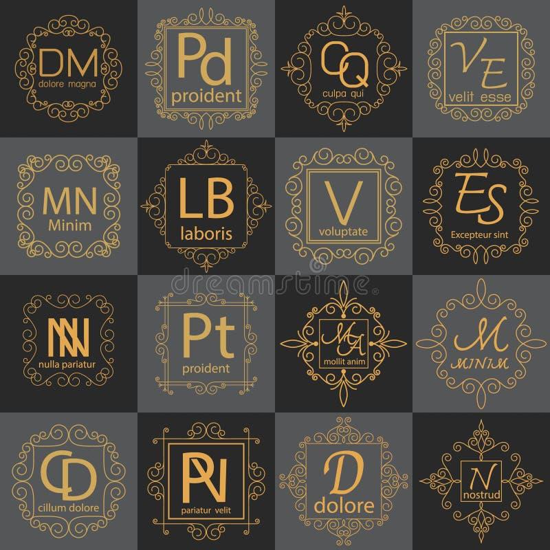 Роскошное собрание шаблона идентичности логотипа вензеля иллюстрация вектора
